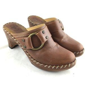 Frye Charlotte ring mules clog brown leather heels